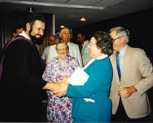 Church members congratulate Pastor Doug at his graduation – Master of Theological Studies program
